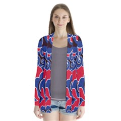 Batik Background Vector Drape Collar Cardigan