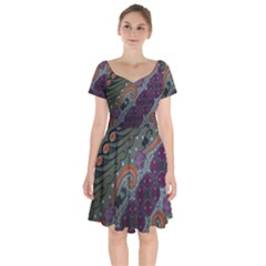 Batik Art Pattern  Short Sleeve Bardot Dress