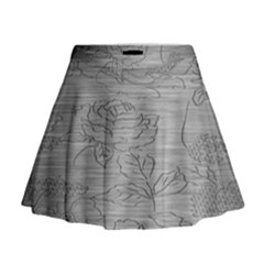 Embossed Rose Pattern Mini Flare Skirt