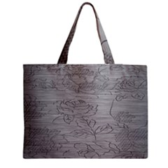 Embossed Rose Pattern Medium Zipper Tote Bag