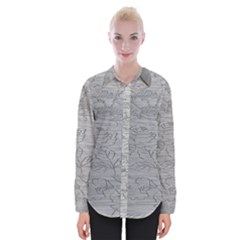 Embossed Rose Pattern Womens Long Sleeve Shirt