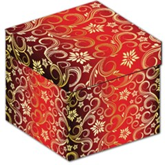 Golden Swirls Floral Pattern Storage Stool 12