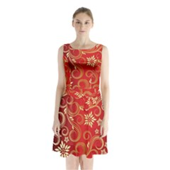 Golden Swirls Floral Pattern Sleeveless Waist Tie Chiffon Dress
