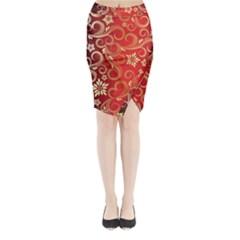 Golden Swirls Floral Pattern Midi Wrap Pencil Skirt