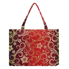 Golden Swirls Floral Pattern Medium Tote Bag by BangZart