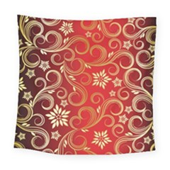 Golden Swirls Floral Pattern Square Tapestry (large)