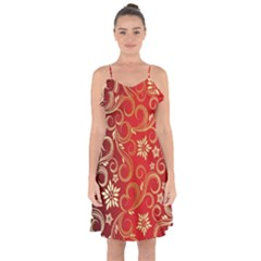 Golden Swirls Floral Pattern Ruffle Detail Chiffon Dress