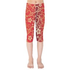 Golden Swirls Floral Pattern Kids  Capri Leggings
