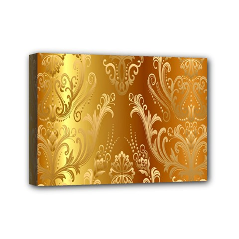 Golden Pattern Vintage Gradient Vector Mini Canvas 7  X 5