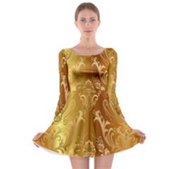 Golden Pattern Vintage Gradient Vector Long Sleeve Skater Dress