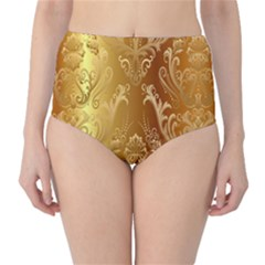 Golden Pattern Vintage Gradient Vector High Waist Bikini Bottoms