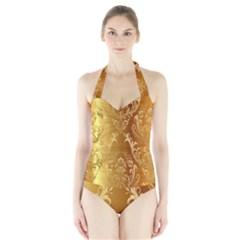 Golden Pattern Vintage Gradient Vector Halter Swimsuit