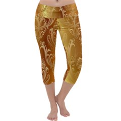 Golden Pattern Vintage Gradient Vector Capri Yoga Leggings by BangZart