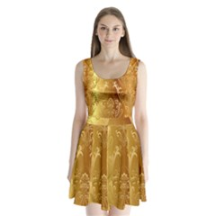 Golden Pattern Vintage Gradient Vector Split Back Mini Dress