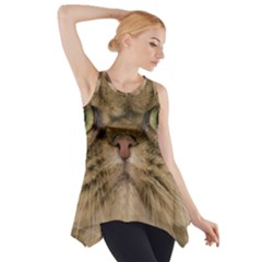 Cute Persian Catface In Closeup Side Drop Tank Tunic
