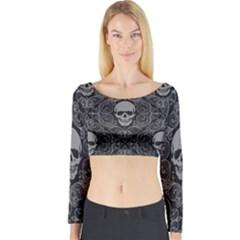Dark Horror Skulls Pattern Long Sleeve Crop Top