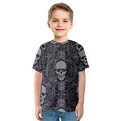 Dark Horror Skulls Pattern Kids  Sport Mesh Tee