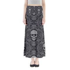 Dark Horror Skulls Pattern Full Length Maxi Skirt