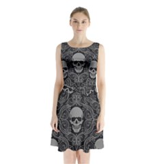 Dark Horror Skulls Pattern Sleeveless Waist Tie Chiffon Dress
