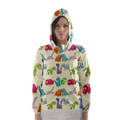 Group Of Funny Dinosaurs Graphic Hooded Wind Breaker (women)