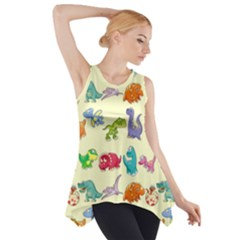 Group Of Funny Dinosaurs Graphic Side Drop Tank Tunic