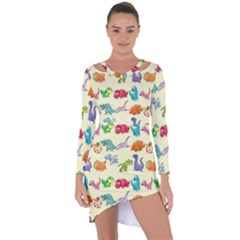 Group Of Funny Dinosaurs Graphic Asymmetric Cut Out Shift Dress