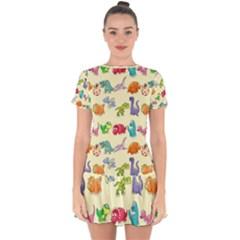 Group Of Funny Dinosaurs Graphic Drop Hem Mini Chiffon Dress