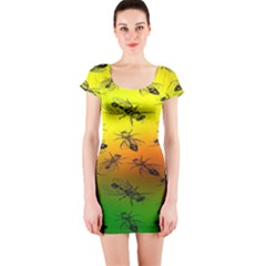 Insect Pattern Short Sleeve Bodycon Dress