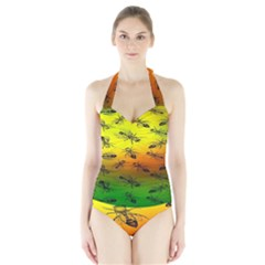Insect Pattern Halter Swimsuit