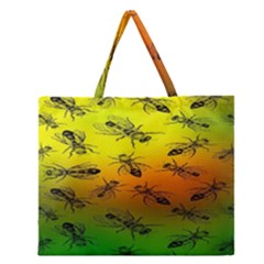 Insect Pattern Zipper Large Tote Bag