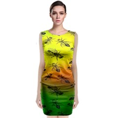Insect Pattern Classic Sleeveless Midi Dress