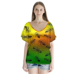 Insect Pattern Flutter Sleeve Top