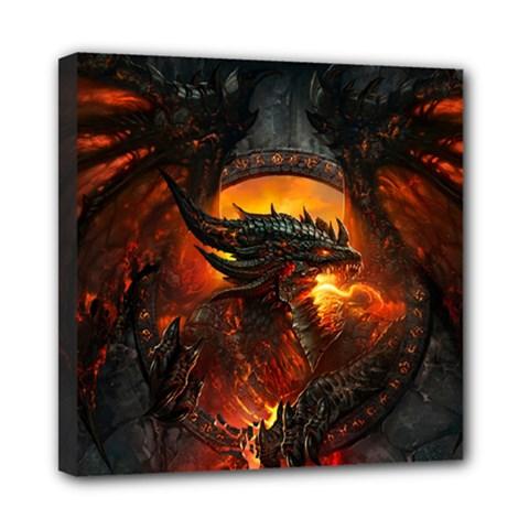 Dragon Legend Art Fire Digital Fantasy Mini Canvas 8  X 8