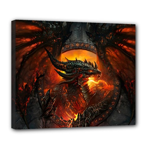 Dragon Legend Art Fire Digital Fantasy Deluxe Canvas 24  X 20