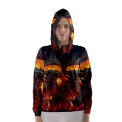 Dragon Legend Art Fire Digital Fantasy Hooded Wind Breaker (women)
