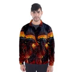 Dragon Legend Art Fire Digital Fantasy Wind Breaker (men)