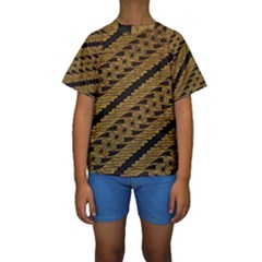 Traditional Art Indonesian Batik Kids  Short Sleeve Swimwear