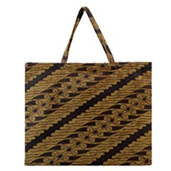 Traditional Art Indonesian Batik Zipper Large Tote Bag