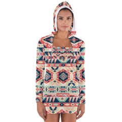 Aztec Pattern Long Sleeve Hooded T Shirt