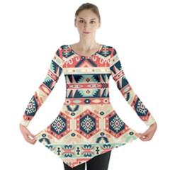 Aztec Pattern Long Sleeve Tunic
