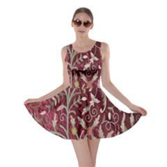 Crewel Fabric Tree Of Life Maroon Skater Dress