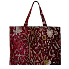 Crewel Fabric Tree Of Life Maroon Zipper Mini Tote Bag