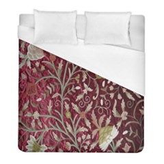 Crewel Fabric Tree Of Life Maroon Duvet Cover (full/ Double Size)