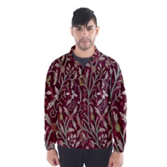 Crewel Fabric Tree Of Life Maroon Wind Breaker (men)