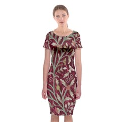 Crewel Fabric Tree Of Life Maroon Classic Short Sleeve Midi Dress