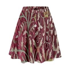 Crewel Fabric Tree Of Life Maroon High Waist Skirt