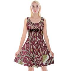 Crewel Fabric Tree Of Life Maroon Reversible Velvet Sleeveless Dress