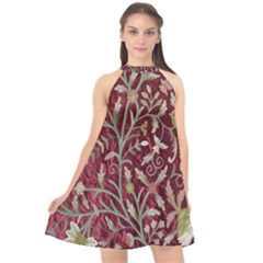 Crewel Fabric Tree Of Life Maroon Halter Neckline Chiffon Dress