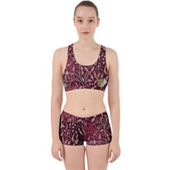 Crewel Fabric Tree Of Life Maroon Work It Out Sports Bra Set