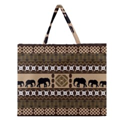 Elephant African Vector Pattern Zipper Large Tote Bag